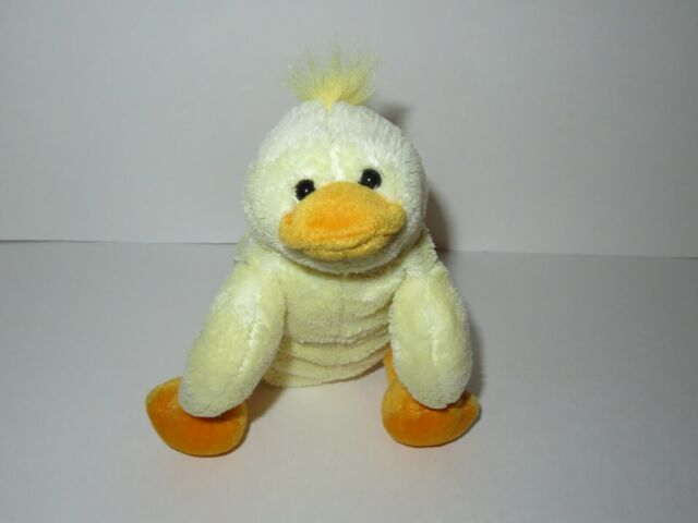 """CARTERS PLUSH 7/"""" CHICK DUCK RATTLE YELLOW ORANGE DOTS BABY BROWN BOW LOVEY"""
