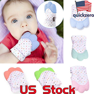 Safety Baby Silicone Mitts Teething Mitten Glove Sound Teether wrapper gloves