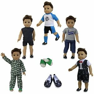 5-Sets-Boy-Doll-Clothes-2-Shoes-for-American-18-Inch-Boy-Doll-Accs-Outfits-Lot