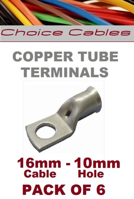 COPPER TUBE TERMINALS, 16MM BATTERY CABLE CRIMP RING TERMINALS LUGS  EYELETS