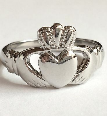 Size 5-10 Stainless Steel Heart Claddagh Ring Gold Celtic Knot Irish Wedding