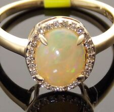 14K GOLD NATURAL FIRE OPAL CABOCHON & DIAMOND HALO-STYLE SOLITAIRE RING SIZE 7