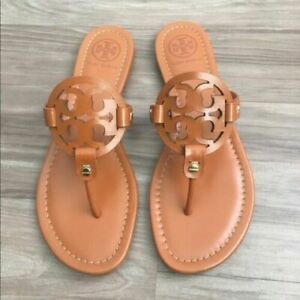 Tory-Burch-Miller-Vintage-Vachetta-Leather-Flat-Classic-Sandals-Many-size