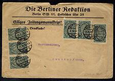 1923 Berliner Redaktion Germany Inflation cover to Neuwieder Zeitung 30000 RM