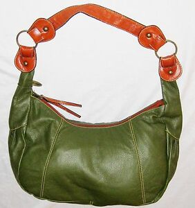 Image Is Loading Chinese Laundry Green Brown 12x20 034 Leather Zippered