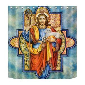 Image Is Loading Waterproof Fabric Bathroom Shower Curtain Hooks Set Jesus