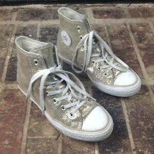 Details about Converse All Star High Top Womens Glitter Gold Metallic Sneakers Shoes Sz 6 GUC