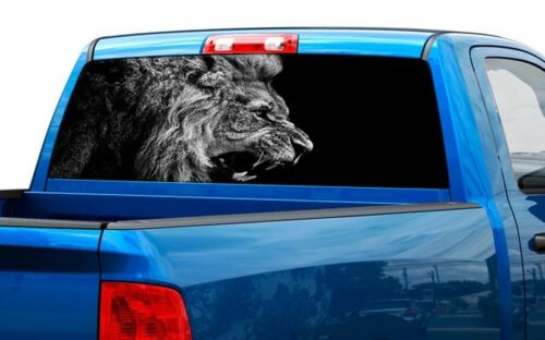 Lion B//W growl black and white Rear Window Decal Sticker Pick-up Truck SUV Car
