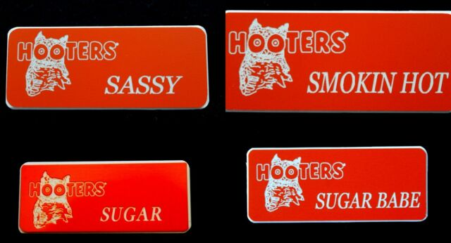 4 Hooters Girl Uniform Name Tag Sassy Smokin Hot Sugar Sugar Babe Pin Badge Gift