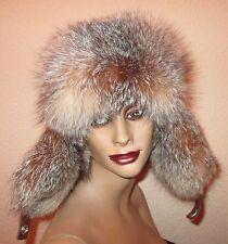 Silberfuchs Pelz Mütze Pelzmütze Fox Fur Hat Wintermütze Blaufuchs Kappe Hut Neu