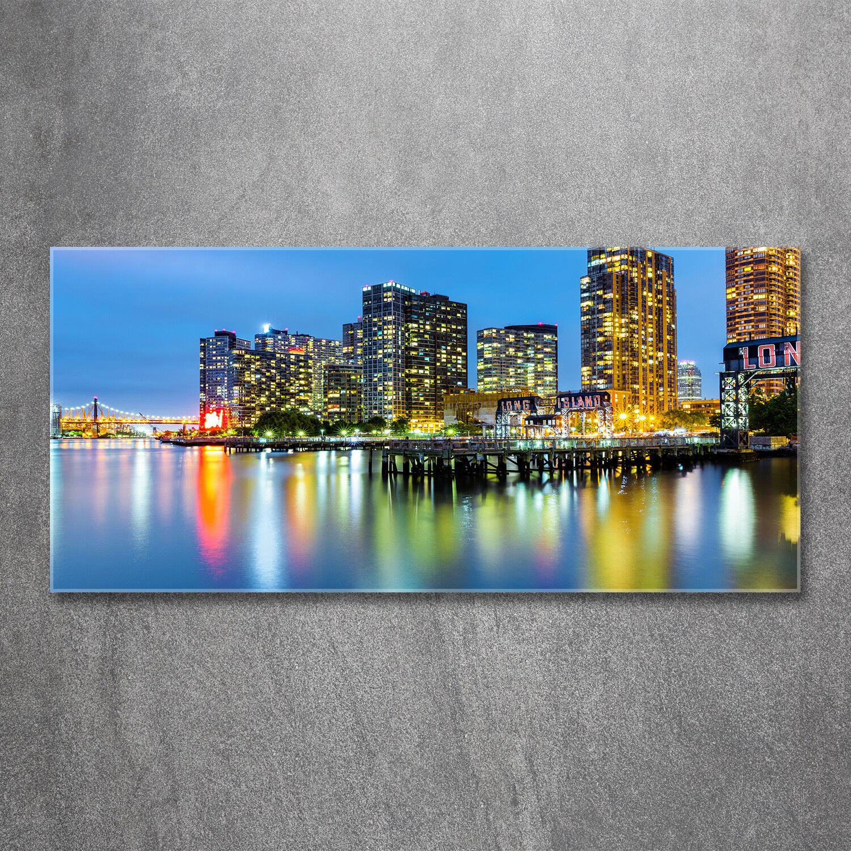 Glas-Bild Wandbilder Druck auf Glas 120x60 Sehenswürdigkeiten New York bei Nacht
