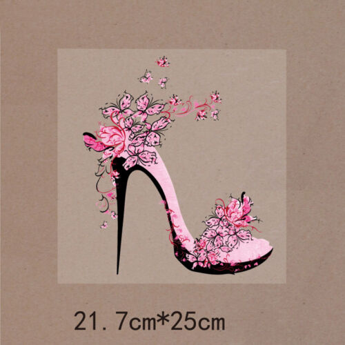 Women Flower High Heel Shoe Pair Fashion Embroidered Iron On Applique Patch