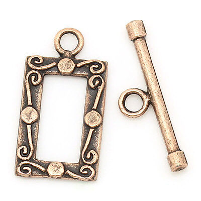 Toggle Clasps Rectangle Antique Copper 23mm x 12mm 23mm x 6mm,50 Sets SP0675