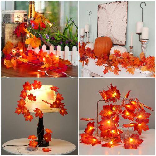 Fall Maple Leaves LED Fairy String Light Garland Halloween Xmas Lamp Decor-WI
