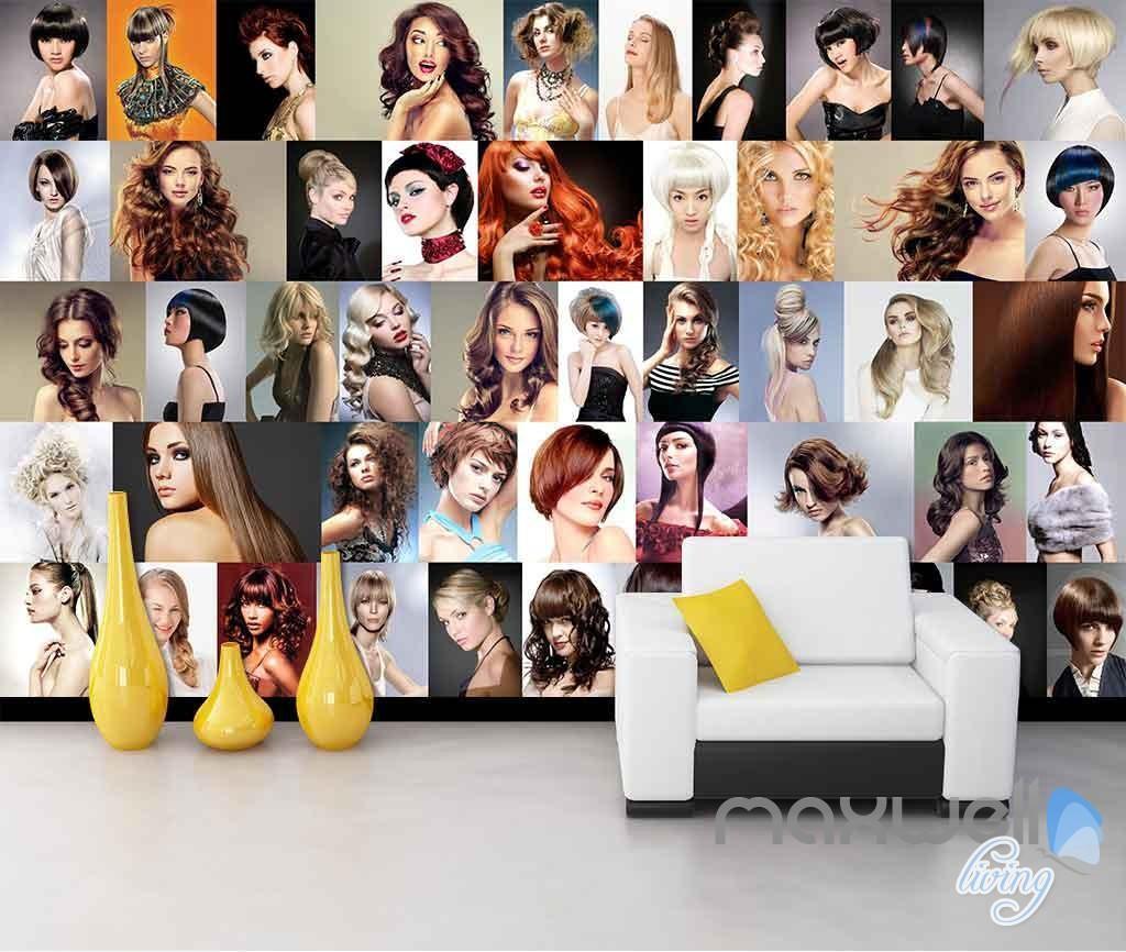 3D Hair Salon Dressing Wall Mural Business Decals Poster Art Wallpaper