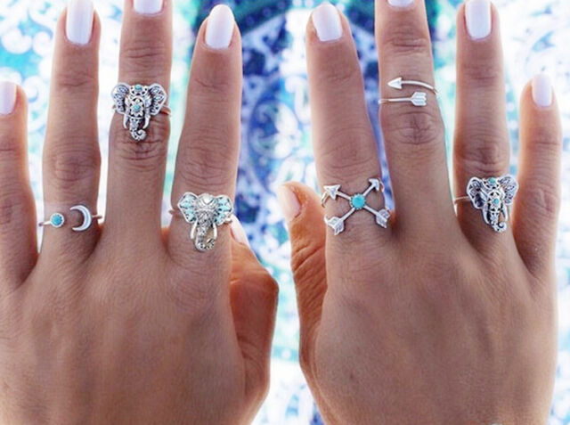 New 1Set/6Pcs Gothic Boho Turquoise Elephant Midi Knuckle Women Alloy Rings