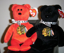 Ty STANLEY SET - Chicago Blackhawks Beanie Baby Bears - LIMITED EDITION ~ MWMT'S