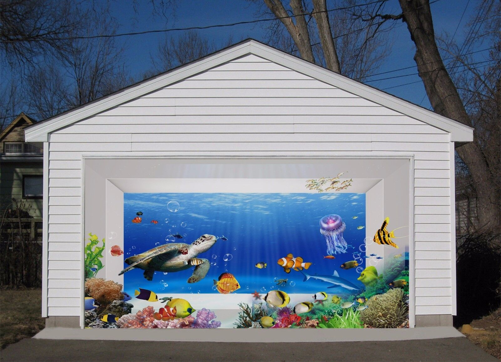 3D Turtle Fishs 4 Garage Door Murals Wall Print Decal Wall AJ WALLPAPER AU Lemon