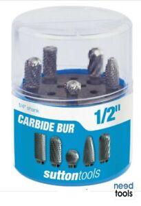 CARBIDE-BUR-5-Piece-Set-1-4-034-Shank-Carbide-Burr-Sutton-Tools-B900-SCB100