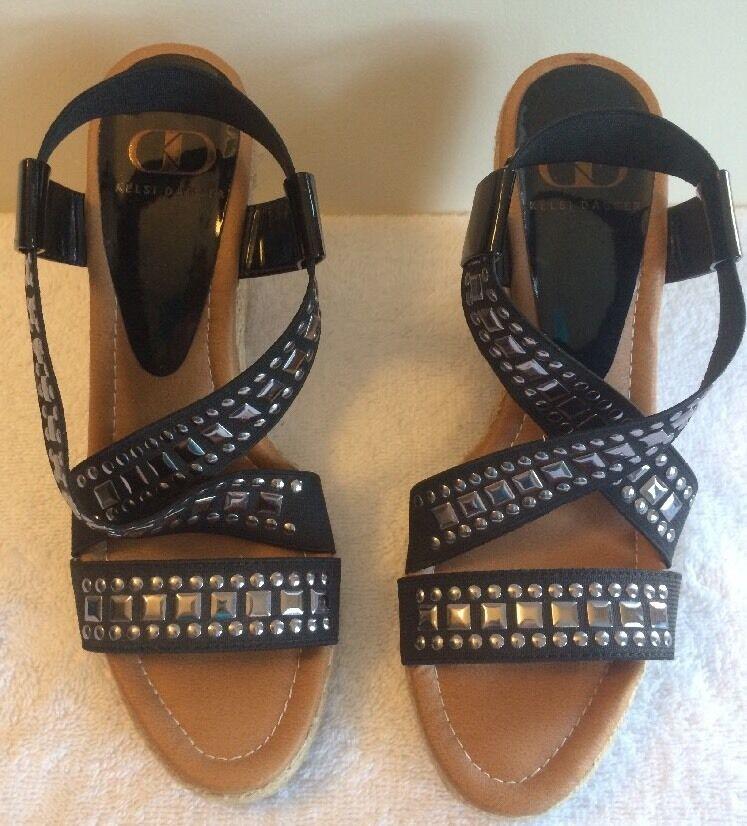 KELSI DAGGER Black Silver Studded Platform Wedge Heels Sandals size 6.5M Delana