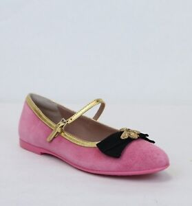 c267f7d8b686a Gucci Girl Childrens Pink Suede Ballet Flats w Bee and Bow 33 US 1.5 ...