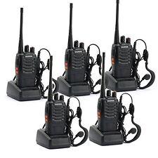 5 Pack Walkie Talkie Headset Set Way Radio 2 Long Range Security Patrol Police