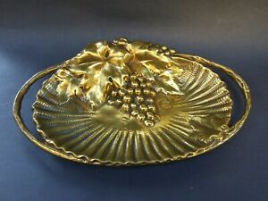 Antique-Cast-Heavy-Bronze-Grapes-Design-Letter-Tray-Bonbon-Dish-Original-C-1900
