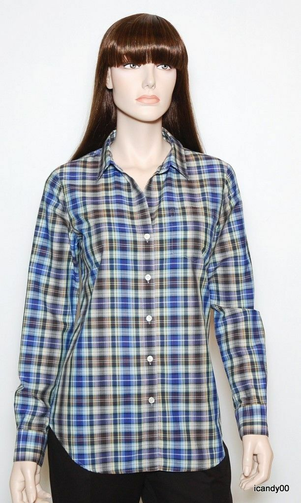 Nwt  Theory Nikala Plaid Cotton Shirt Blouse Tunic Top Blau Multi L