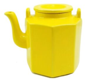 Vintage McCoy Pottery Sunny Yellow Glazed Octagon Kettle Teapot Marked 1838 USA