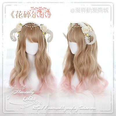 Japanese Harajuku Sweet Lolita Long Curly Gradient Yellow+Pink Daily Cosplay Wig