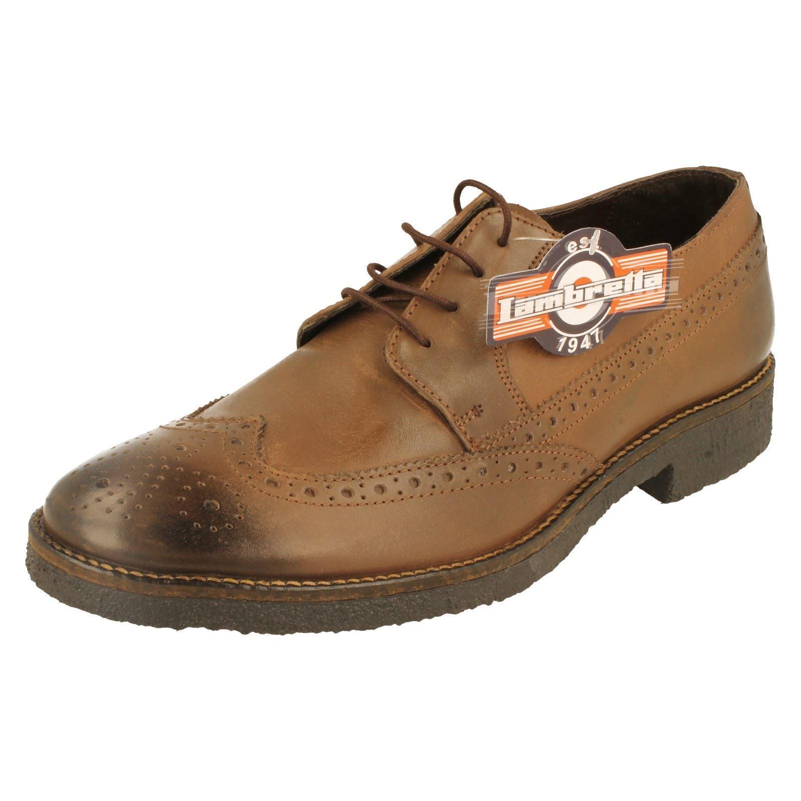 SALE Lambretta M-82 Men's Storm Brown Lace Up Leather Brogue shoes