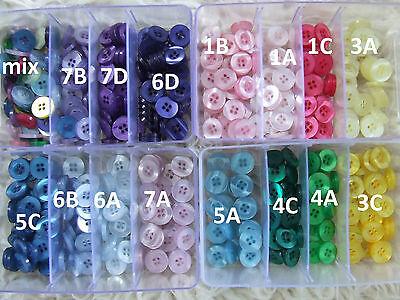 Variagated Plastic Shirt Button/Fastener 13mm Yellow/Pink/Green/Blue MixedJoblot