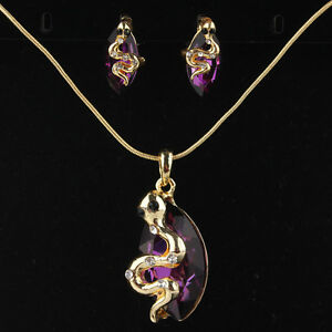 Image Is Loading New 14k Gold Filled Amethyst Austrian Crystal Snake