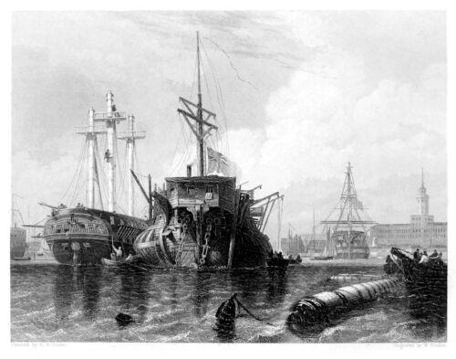 Nautical Art Print 11x8 Inch Portsmouth Rigging Hulk and Frigate 1840/'s