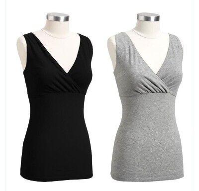 Old Navy Maternity Cross-Front Jersey Nursing Camis Top 1pc grey / black