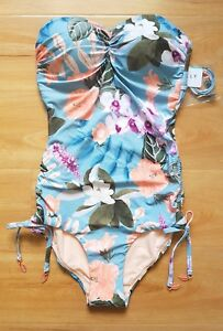 NWT-Seafolly-Summer-Vacay-C-D-Bandeau-Maillot-One-piece-Bluemist-AU-8-US-4-B40