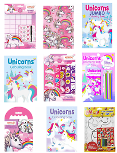 UNICORN-EMOJI-COLOURING-BOOKS-Kids-Activity-A4-Fun-Stickers-Puzzle-Games-Smile