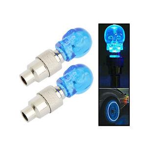 2 x sch del ventilkappen blaues licht rad reifen lampe f r auto motorrad fahrrad ebay. Black Bedroom Furniture Sets. Home Design Ideas