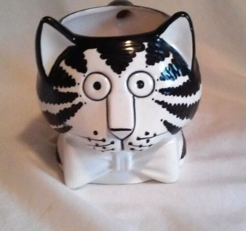 VINTAGE SIGMA CERAMIC 3D CAT CUP BLACK AND WHITE