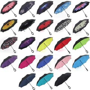 Lilo Stitch Car Reverse Umbrella Windproof And Rainproof Double Folding Inverted Umbrella With C-Shaped Handle UV Protection Inverted Folding Umbrellas