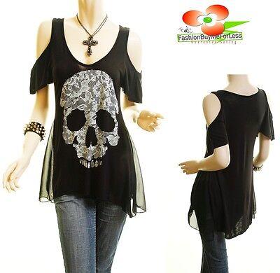 Women PLUS Gothic Lace Skull Print Cold Shoulder Jersey Tunic Shirt Top 1X 2X 3X
