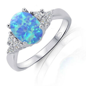 Australian-Light-Blue-Fire-Opal-w-Sapphire-CZ-Genuine-Sterling-Silver-Ring