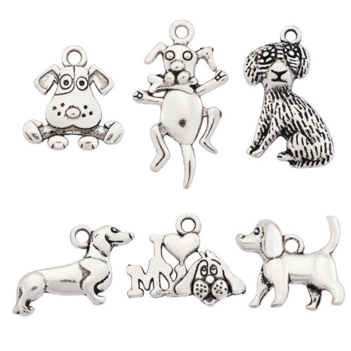 24pcs//set Tibetan Antique Silver Alloy Dog Theme Charms Pendants DIY Accessories