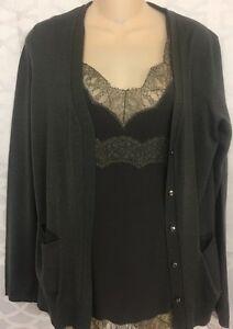 Escada Topset Granite Camisole Silk And Lace /Button Up Cardigan ...