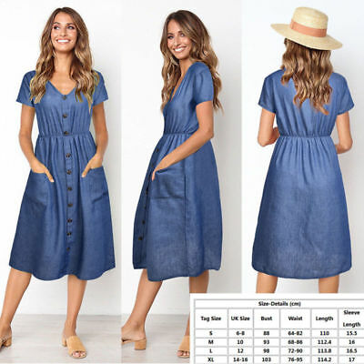 UK Womens Summer Denim Dress Ladies Jeans Party Career Casual Midi Dress Shorts