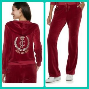 e77a94e22df8 New Women s Juicy Couture Tracksuit Red Velour Hoodie Boot Pants 2pc ...