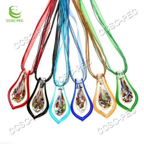 FREE Wholesale Lot 6Pcs Feuille Cristal lampwork verre pendentifs Soie Collier