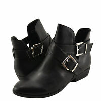 Women's Shoes Bamboo Charm 09 Casual Cut Out Ankle Booties Black