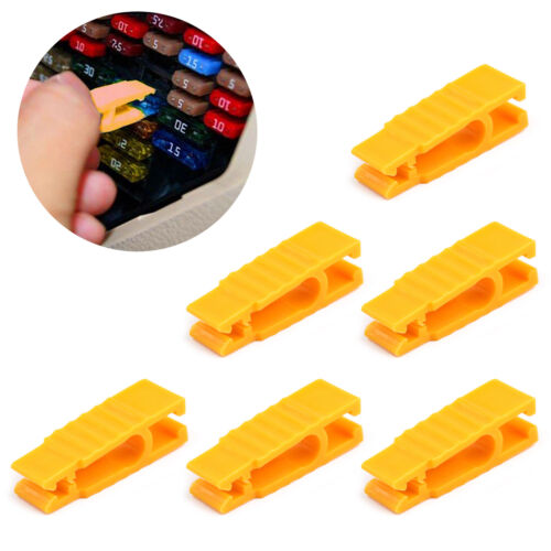 6 × Fuse Puller 30mm Car Automotive Mini Micro Blade Fuse Tool Extractor Yellow