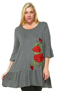 Joy/'s Rose Embroidery Ruffle Tunic Top Gray W Flower Patch Shirts 1XL,2XL,3XL